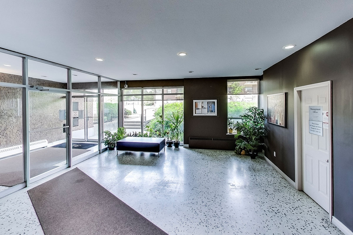 The lobby of The Park Mills, an apartment building in North York